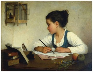 Browne_Henriette_-_A_Girl_Writing_The_Pet_Goldfinch_-_Google_Art_Project-copia